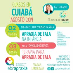 Detalhes do eventos Cursos  - Apraxia de Fala na Infância e Terapia para Apraxia de fala - Dra Elisabete Giusti - Cuiabá - 02 e 03 de agosto - Inscrição para os 2 dias
