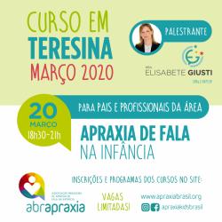 Detalhes do eventos Curso Apraxia de fala na Infância - Introdutório- Dra Elisabete Giusti - TERESINA - 20 de março de 2020