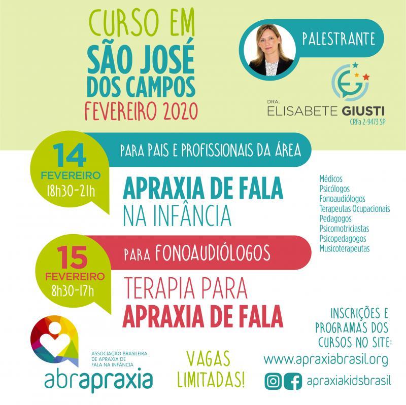 Cursos  - Apraxia de Fala na Infância e Terapia para Apraxia de fala - Dra Elisabete Giusti - São José dos Campos - 14 e 15 de fevereiro de 2020 - Inscrição para os 2 dias