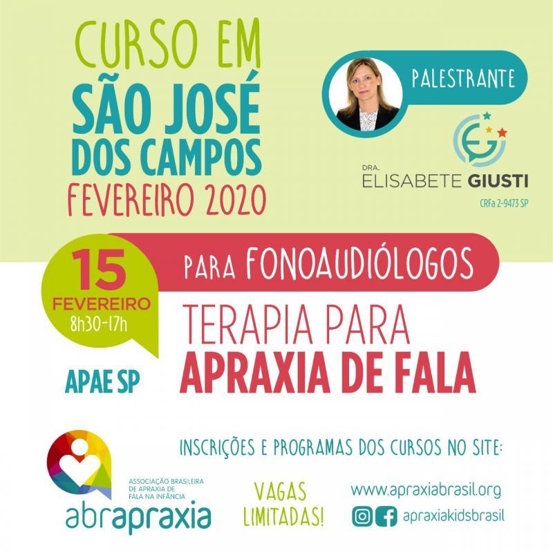 Curso Terapia para Apraxia de Fala - Dra Elisabete Giusti - São José dos Campos - 15 de fevereiro de 2020 - SOMENTE FONOS
