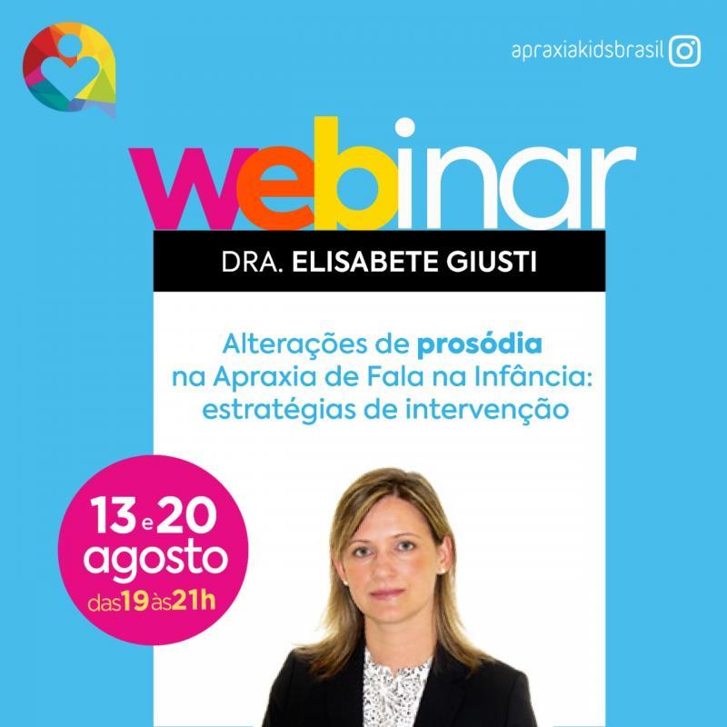 Webinar - Alterações de Prosódia na Apraxia de Fala na Infância - 13 e 20 de agosto